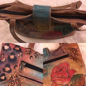 Anuschka Bags - SOLD Anuschka Rose Painted Leather Handbag Purse